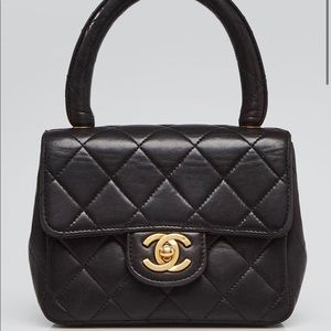 Auth CHANEL Kelly Classic Top Handle 24k  Flap Bag